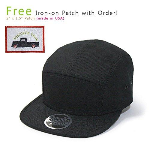 Solid Cotton Twill Square Flat Brim Adjustable Camper Cap (Black)