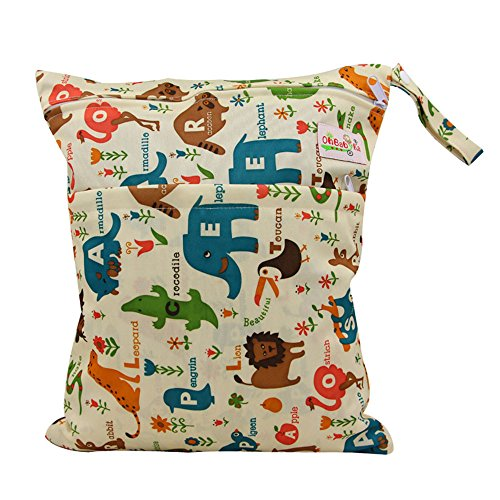 OHBABYKA Baby Wet and Dry Cloth Diaper Organizer Bag,Waterproof Double Zipper - Animals