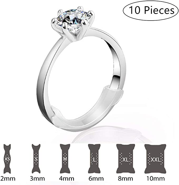 Spacer Fitter with Transparent Memory Material for a Perfect Fit Not Metal RINGO Multi-Size Ring Adjuster:10-Pack of The Invisible Ring Sizer