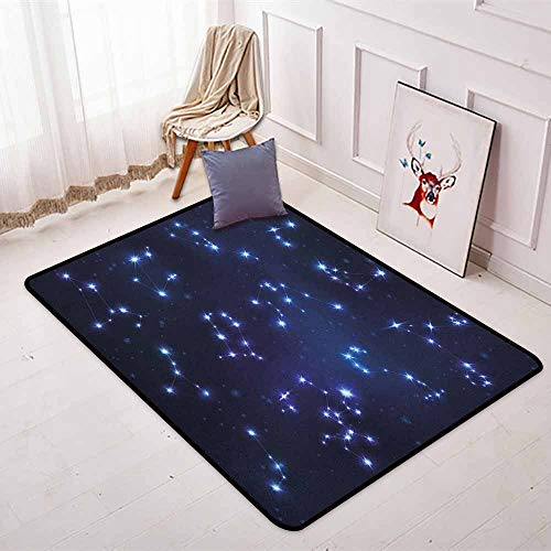Constellation Non-Slip Absorbent Carpet Realistic Celestial Gemini Leo Pisces Sagittarius Galactic for Floor Carpets W35.4 x L47.2 Inch Dark Blue Pale Blue Purple