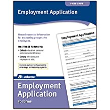 Adams Application for Employment, Forms and Instructions, 50 Forms per Pack (HR104)