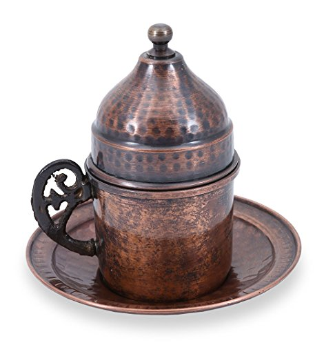 Traditional Design Handmade Copper Turkish Coffee, Espresso, Tea Cup with Saucer (CC-119)
