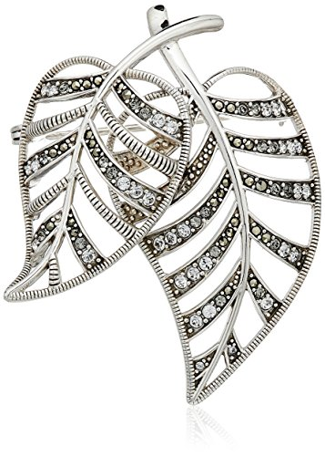 Judith Jack Sterling Silver Swarovski Marcasite and Crystal Pave Leaf Brooches and Pin Sterling Silver Marcasite Pin Brooch