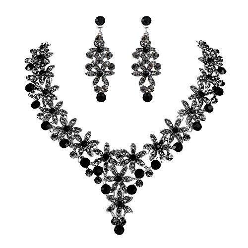 Crystal Cluster Drop Necklace - EVER FAITH Austrian Crystal Enamel Party Flower Cluster Drop Necklace Earrings Set Black Silver-Tone