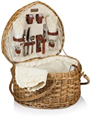 Picnic Time 329-35-190 Heart Basket-Willow with Cream Lining
