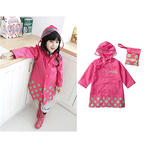 Cartoon Waterproof Children's Raincoat (S, Pink) (Pink Coat)
