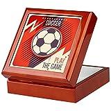 Keepsake Box Mahogany Soccer Football Play The Game Red