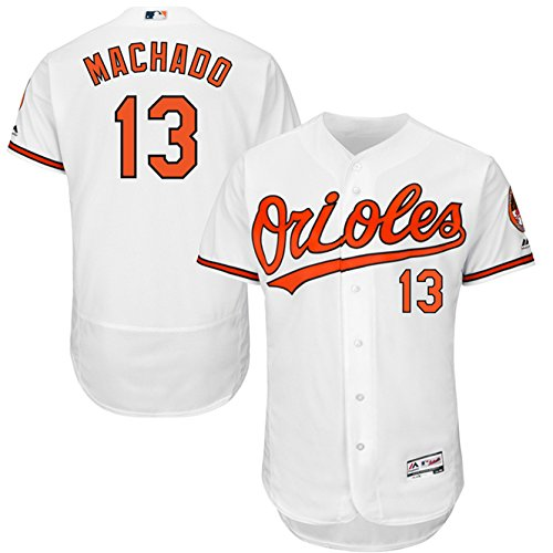 Majestic Athletic 2018 Manny Machado Baltimore Orioles #13 Mens Flex Base Player Jersey – White Size ()
