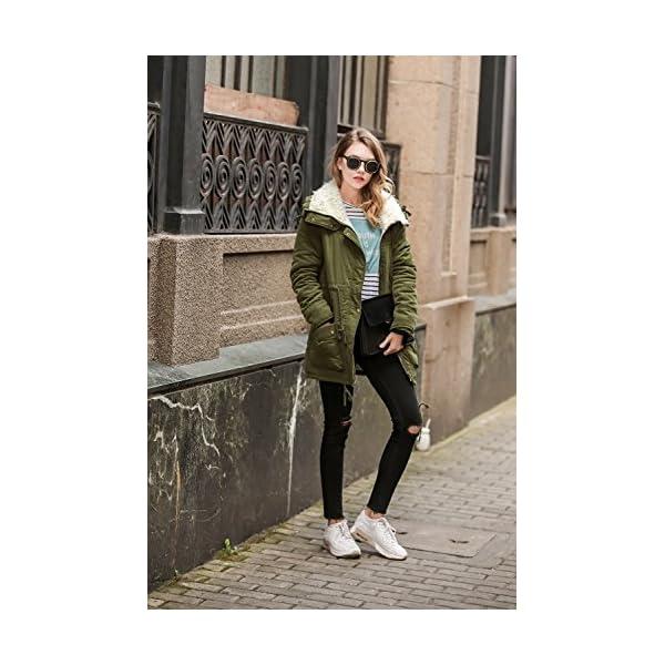 0b08297688e ELESOL Women s Military Hooded Warm Winter Parkas Faux Fur Lined Jacket  Coats