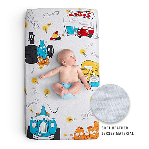 JumpOff Jo - 100% Cotton Super Soft Crib Sheet - Hypoallergenic and Breathable Crib Mattress Topper - Original Design - Jo