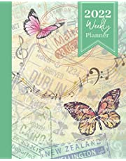2022 Weekly Planner: Butterflies, Music & Stamps, 12 Month Calendar (January to December)