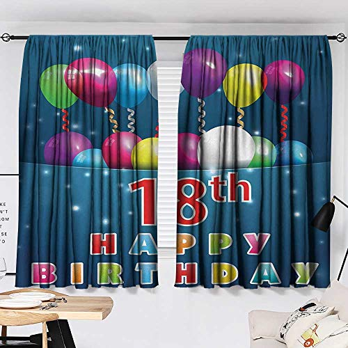 18th Birthday Curtain for Living Room Party Time with Colorful Flying Balloons on Star Like Backdrop Happiness Modes Darkening Curtains Blue and White W55 x L39 by Jinguizi (Image #1)