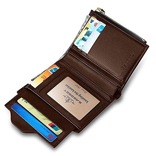 Carte Portafoglio Marrone Supporto Di Cuoio Tasca Con Nero Pu Bloccaggio Moneta Rfid Rimovibile Cerniera Expresstech Porta ZqSa77