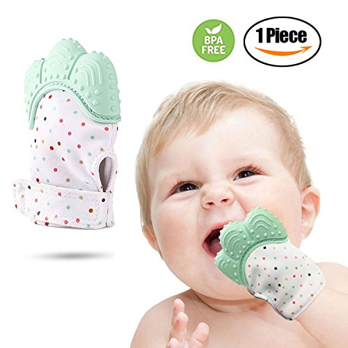 Premium Baby Teething Mitten, Stays On Hand, Easily Washable, Self Soothing Fun, Unisex 3-18 Months