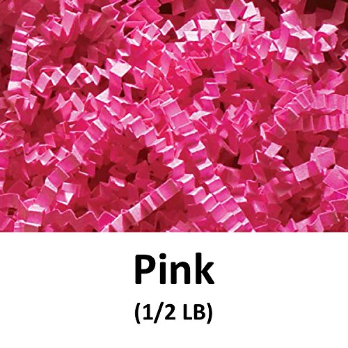 Crinkle Cut Paper Shred Filler (1/2 LB) for Gift Wrapping & Basket Filling - Pink | MagicWater Supply (Pink Gift Basket)