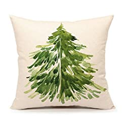 Christmas Farmhouse Home Decor 4TH Emotion Watercolor Christmas Tree Throw Pillow Cover Cushion Case for Home Decor Sofa Couch 18″ x 18″ Inch Cotton Linen Farmhouse Christmas Decorations farmhouse christmas pillow covers