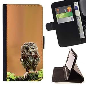 Momo Phone Case / Flip Funda de Cuero Case Cover - Curioso Lindo Mini Buho - Samsung Galaxy Note 4 IV