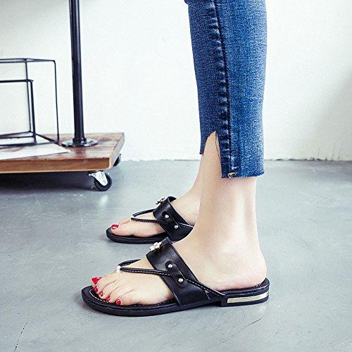 Ularma Zapatillas zapatos planos mujer sandalias resistentes del resbalón negro