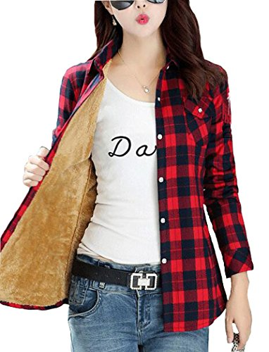 Totoship Long Sleeve Plaid Flannel Warm Shirt Fleece Lined Blouse Up (US 2, Red Black 1) (Lined Snap)