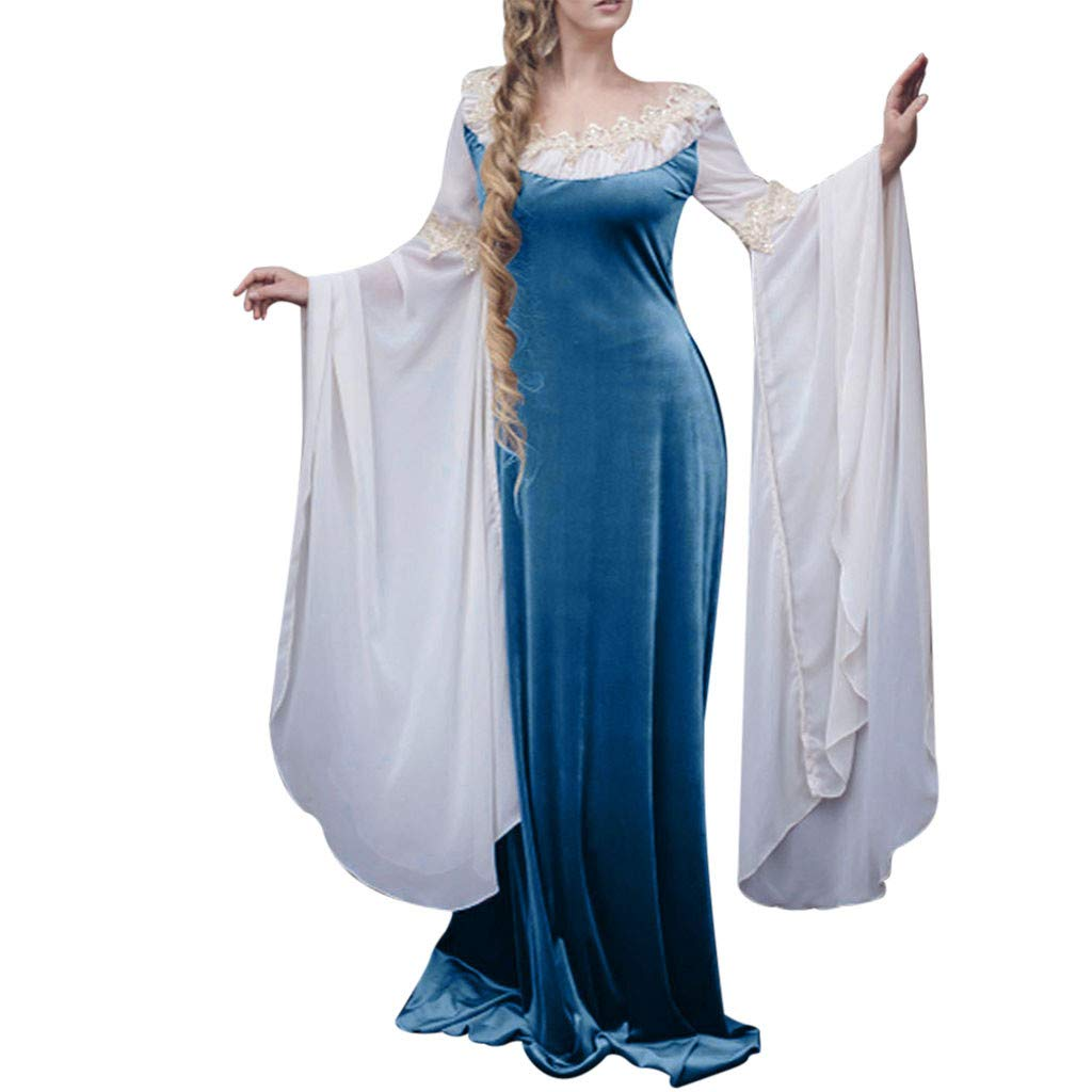 Women's Elegant Medieval Costume Renaissance Princess Floor Length Long Flared Sleeve Dress Victorian Irish Gown (XL, Blue) by sweetnice Women Dresses