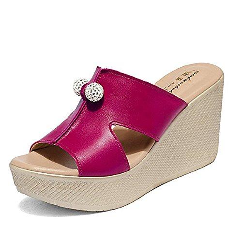 for JULY Peep Rose Slippers Red Beaded T Women Heels Wedge Sandals Slip Walking Comfy Toe Fashion on High Ladies Dress Platform 41wxgd7