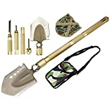 ROSE KULI Military Folding Shovel Multitool - Compact Backpacking Tactical Entrenching Tool for Hunting Camping Hiking Snow Car Shovel with Carrying Case