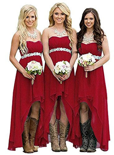 DreHouse Women' Strapless High Low Bridesmaid Dresses Wedding Party (Strapless A-line Bridesmaid Gown)