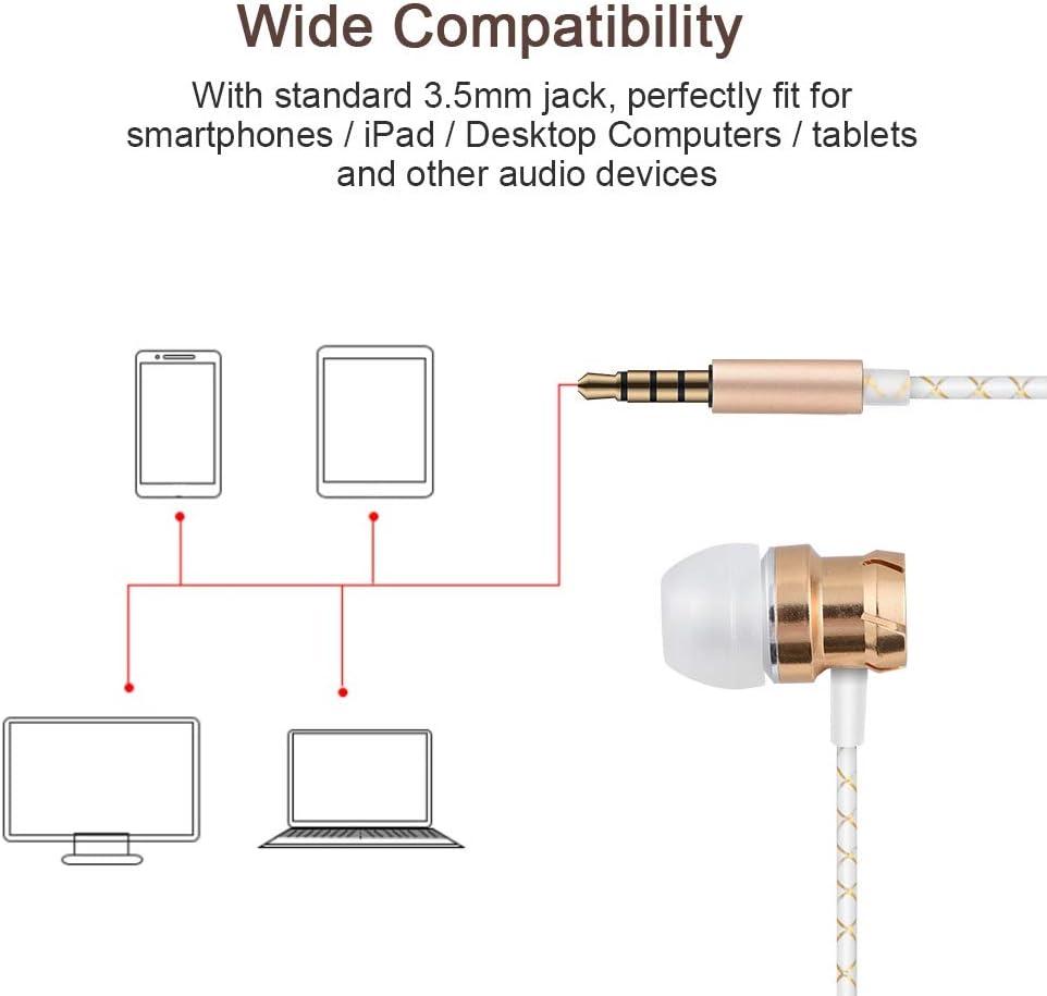 Tangxi Auriculares con Cable,Auriculares Bajos de Metal con Micr/ófono y Control de Volumen y Control Remoto para Correr Gimnasio Ejercicio Resistente al Sudor para iOS para Android Negro