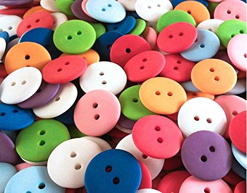 Bunte Mischung Uni Bastelknöpfe - Größe: 18 mm rund - Kunststoffknöpfe zum Nähen und Basteln (100)