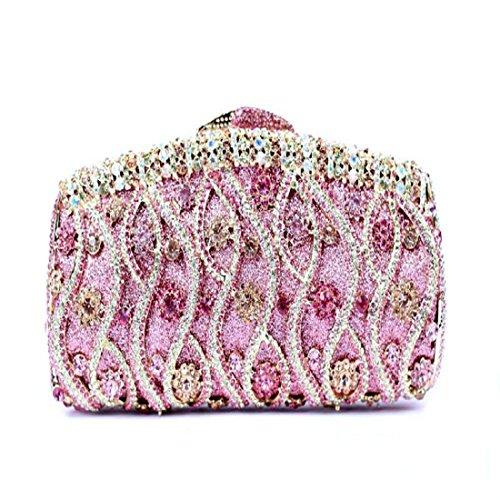 YILONGSHENG Mujer Flor de Bling embrague bolso Rhinestone cristal noche embrague bolsas Clutch Bags Rosa