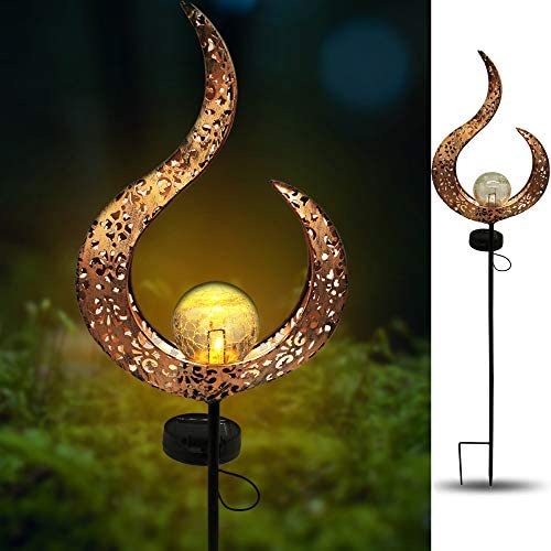 X-PREK Solar Garden Light Outdoor Decorative,Led Moon Crackle Glass Globe Metal Stake Lights for Yard,Patio,Pond,Pathway,Lawn,Festival Decor Hollow Pattern