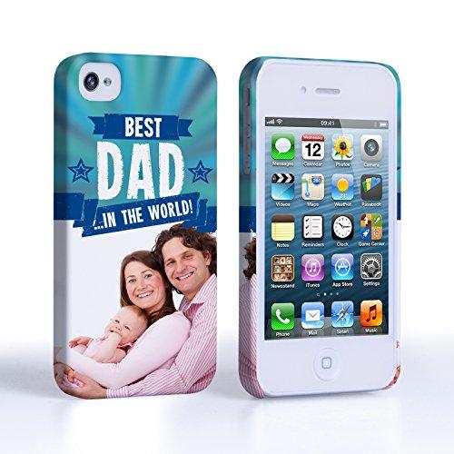 Caseflex iPhone 4 Hart Hülle Blau Bester Papa Der Welt Personalisierbar Schtutzhülle