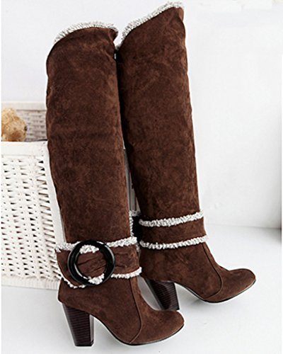Heel Knee Chunky High Brown Heels Minetom Autumn Boots Women Biker Boots Winter Buckle Boots qFxwRvtf