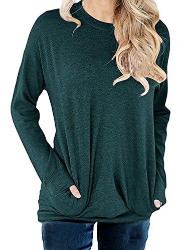 Dutebare Women Long Sleeve Round Neck Sweatshirt Casual Pullover Loose Tunic T Shirt Blouse Tops Green (Neck Jumper)