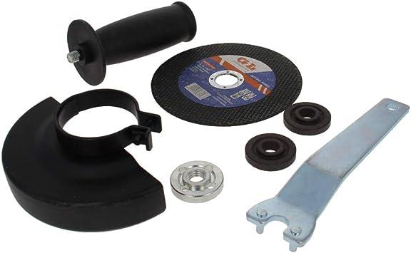 Utoolmart Angler Grinder Parts Black Metal Guard Protector Cover Thick Angle Wrench Grinder Flange Lock Nut Angle Grinder Handle Sanding Disc Set for Electric Angle Grinder