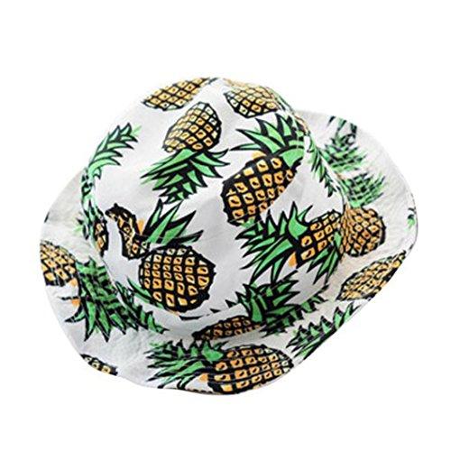 SMYTSHOP Women Cotton Headwear Pineapple pattern Bucket Hat Folding Wide Brim Flat top Sun Hat Fisherman Cap (White)