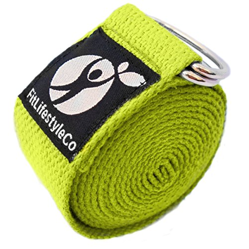 Yoga Strap - Best For Stretching - 6 Colors - Instructional Video - Durable Cotton With Metal D-Ring (yellow)