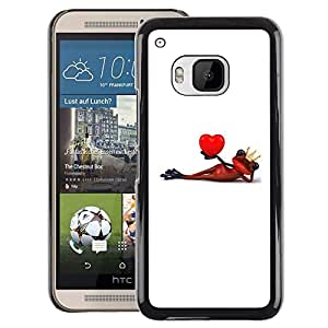 A-type Arte & diseño plástico duro Fundas Cover Cubre Hard Case Cover para HTC One M9 (Lover Frog Minimalist White Heart)