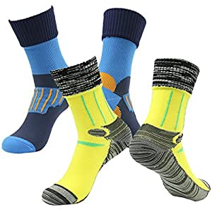 RANDY SUN Men's 2 Pairs Pack Non-Binding Running Socks For Athletic Blue&Yellow
