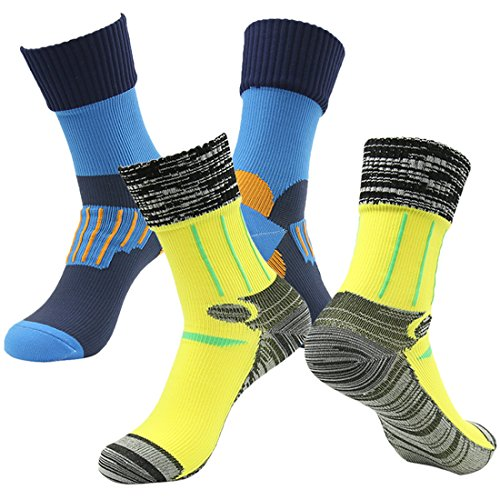 RANDY SUN Men's 2 Pairs Pack Crosspoint Waterproof Breathable Membrance Best Socks Blue&Yellow