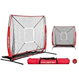 Powernet 5x5 Practice Net + Strike Zone + Weighted Training Ball Bundle | Baseball Softball Coaching Aid | Compact Lightweight Ultra Portable | Team Color | Batting Screen | Pitching Drills