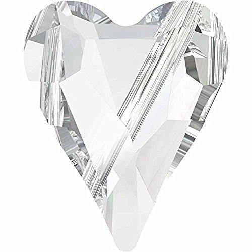 5743 Swarovski Crystal Beads Wild Heart | Crystal | 12mm - Pack of 10 | Small & Wholesale Packs | Free Delivery (Heart Briolette Charm)