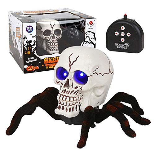 FOONEE Remote Control Spider Prank Scare Toy Robot, RC Tarantula Spider Human Skull 2 in 1 with Light Up Eyes Prank Toy Gift for Boys Girls Teenagers Adults