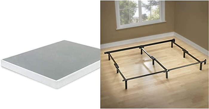 Zinus Armita 5 Inch Smart Box Spring, California King & Michelle Compack 9-Leg Support Bed Frame, for Box Spring and Mattress Set, Cal King