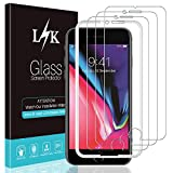 [3 Pack] L K Screen Protector for iPhone 7 / iPhone 8, [Frame-Installation] Tempered-Glass 9H Hardness, Lifetime Replacement Warranty
