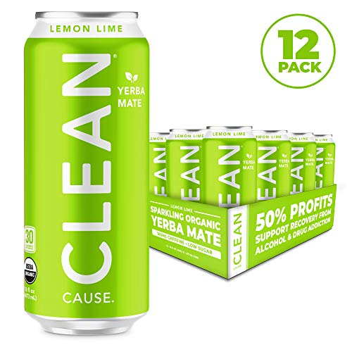 CLEAN CAUSE Organic Yerba Mate Tea Energy Drink, Lemon Lime - 50% Profits Support Alcohol & Drug Addiction Recovery - Sparkling, Low Calorie & Low Sugar (160mg Caffeine, 12-pack 16oz)