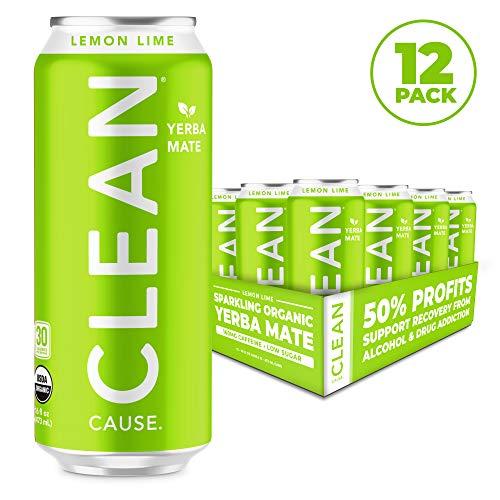 Organic Lemon Yerba Mate - CLEAN CAUSE Organic Yerba Mate Tea Energy Drink, Lemon Lime - 50% Profits Support Alcohol & Drug Addiction Recovery - Sparkling, Low Calorie & Low Sugar (160mg Caffeine, 12-pack 16oz)