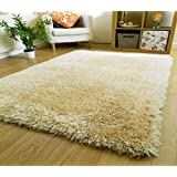 Zeff Furnishing Polyester Anti Slip Shaggy Fluffy Fur Rugs and Carpet for Living Room, Bedroom (Ivory, 4x6 feet)