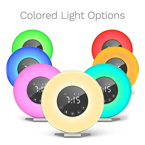 hOmeLabs Sunrise Alarm Clock - Digital LED Clock with 6 Color Switch and FM Radio for Bedrooms - Multiple Nature Sounds Sunset Simulation & Touch Control - With Snooze Function for Heavy Sleepers Set Wood Clock