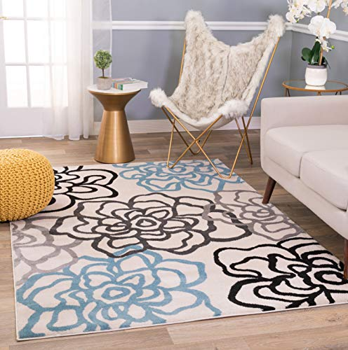 10'5' Contemporary Area Rug - Rugshop Contemporary Modern Floral Flowers Area Rug 5' 3